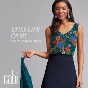 Cabi Still Life Cami, Fall Floral, Teal, S, NEW